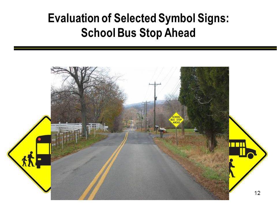 12 Evaluation of Selected Symbol Signs: School Bus Stop Ahead