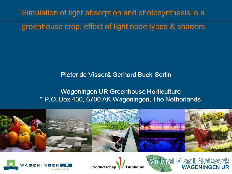 Pieter de Visser& Gerhard Buck-Sorlin Wageningen UR Greenhouse Horticulture * P.O.