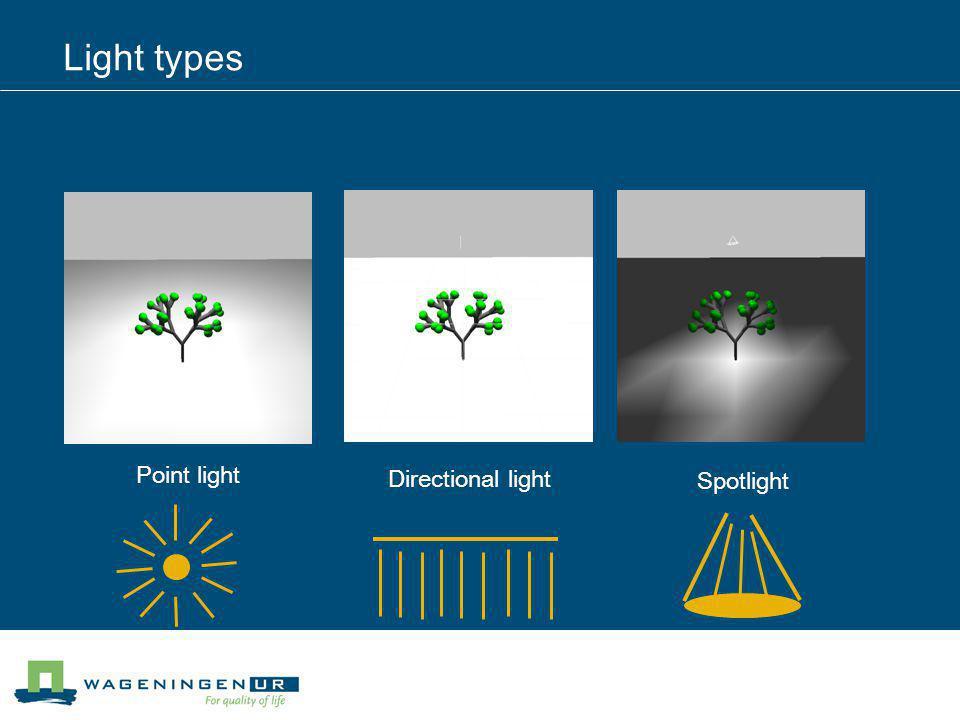 Light types Point light Directional light Spotlight