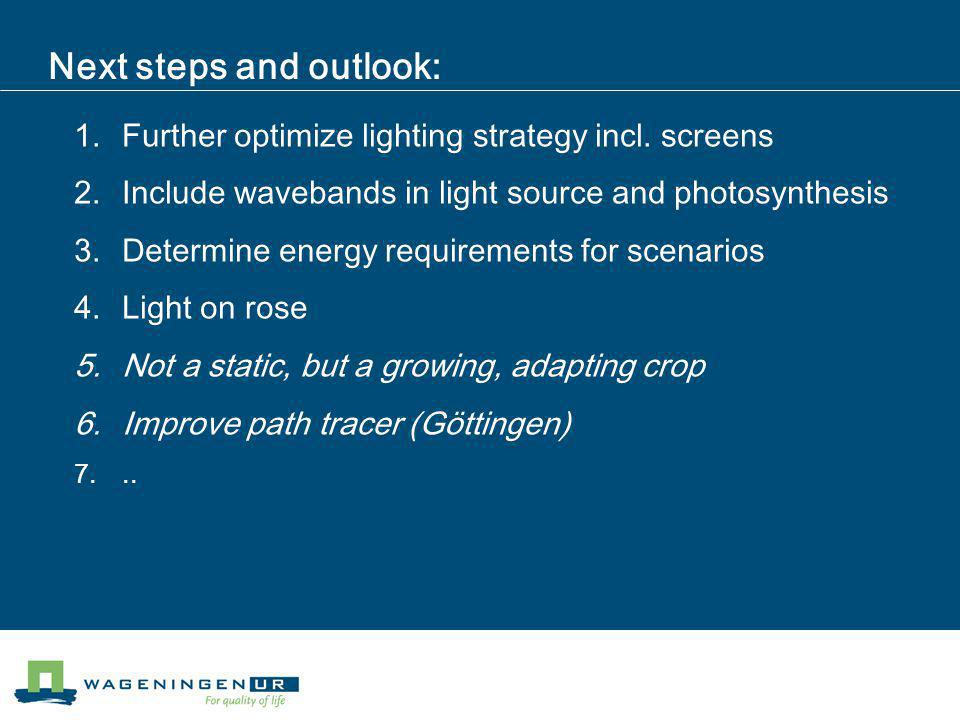 Next steps and outlook: 1.Further optimize lighting strategy incl.