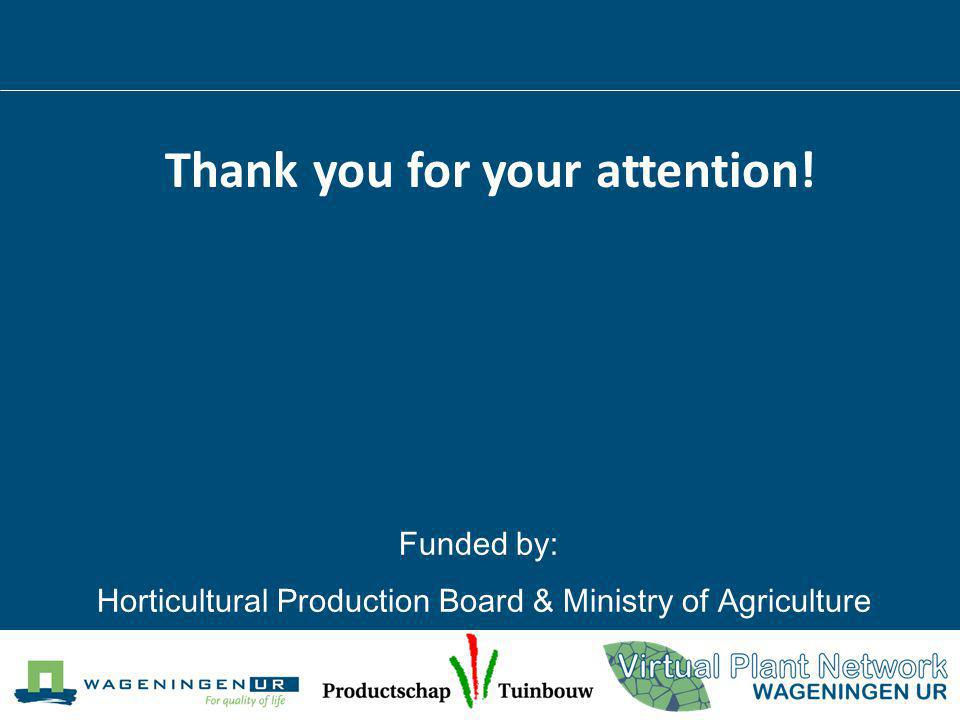 Thank you for your attention! Funded by: Horticultural Production Board & Ministry of Agriculture