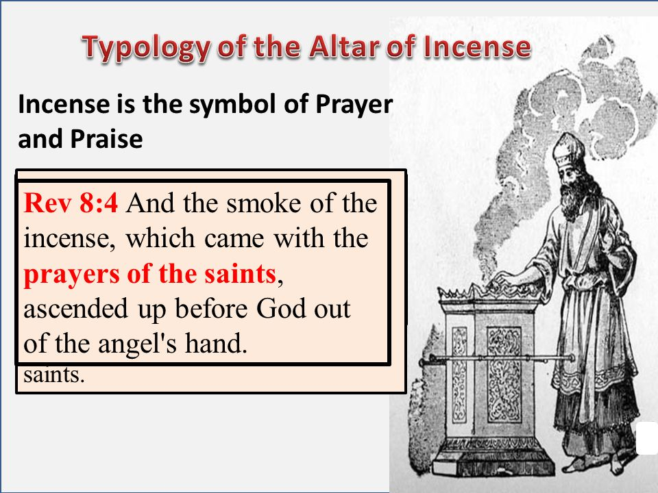 Incense is the symbol of Prayer and Praise Ps 141:2 Let my prayer be set forth before thee as incense; and the lifting up of my hands as the evening s