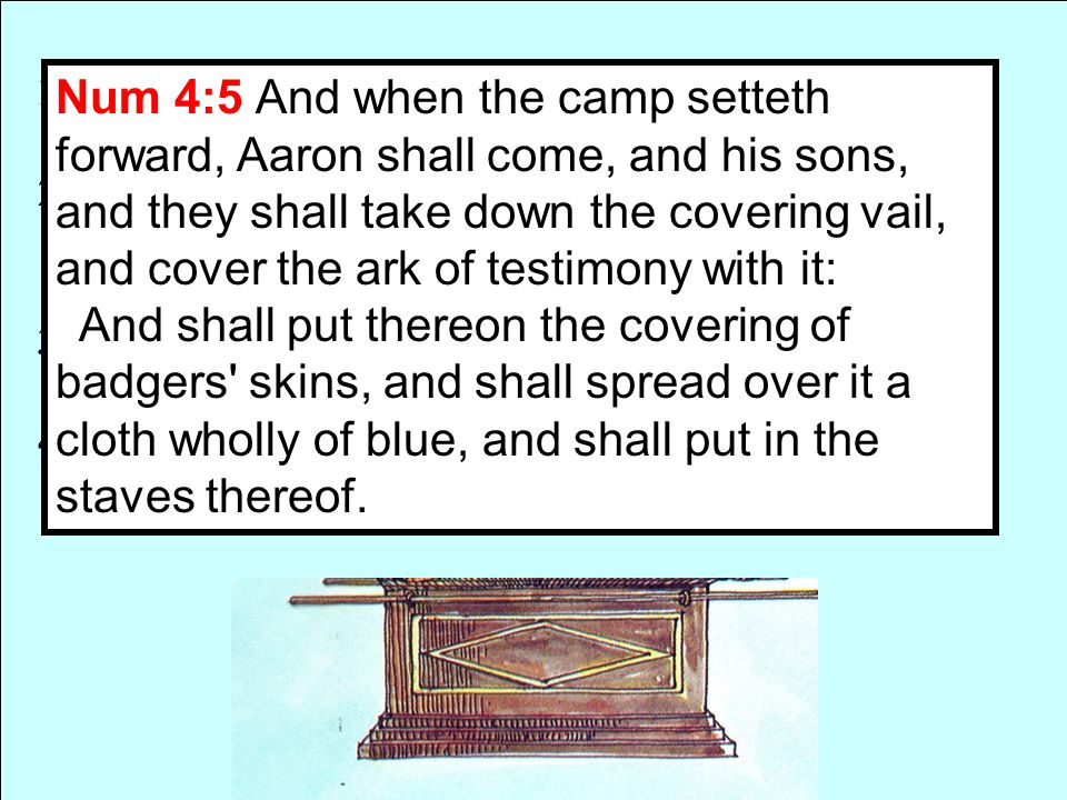 1. A Chest 45 in. Long x 27 in. wide x 27 in. High 2. Made of wood overlaid with gold within and without 3. Staves in rings of gold for transporting 4