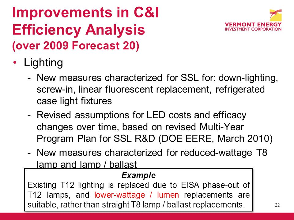 Improvements in C&I Efficiency Analysis (over 2009 Forecast 20) Lighting -New measures characterized for SSL for: down-lighting, screw-in, linear fluorescent replacement, refrigerated case light fixtures -Revised assumptions for LED costs and efficacy changes over time, based on revised Multi-Year Program Plan for SSL R&D (DOE EERE, March 2010) -New measures characterized for reduced-wattage T8 lamp and lamp / ballast 22 Example Existing T12 lighting is replaced due to EISA phase-out of T12 lamps, and lower-wattage / lumen replacements are suitable, rather than straight T8 lamp / ballast replacements.