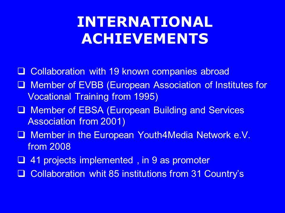 LLL Projects founded by the EU Phare PAEM - 1997 - Program de masuri active pentru combaterea somajului - project coordinator Leonardo da Vinci I - RO/98/2/05853/PI/II.1.1.b/FPC - Development of the Alternative Training System Involving SME - - project promoter Leonardo da Vinci II - 2004- RO / 04/B/F/PP 175045 - ECOES-A EUROPEAN COMMUNITY ORIENTED ENERGY SAVING - ADVISER - project promoter http://www.ecoes-a.ro http://www.ecoes-a.ro PHARE 2005/017-553.04.02.02.01.508- partner CROSI :Competitiveness-Resources-Opportunities-Strategy-Learning Leonardo da Vinci II - PP 146 2000-2006 BASICON - Basic Skills for Construction Helpers - Projekt Partner http://www.basicon.org http://www.basicon.org LLP-LDV-TOI-07-IT-307 - Better Building - partner http://www.better-building.eu/ http://www.better-building.eu/ LLP-LdV-TOI-2007-TR-069 – Enertheach - partner Enerteach: Energy Efficiency and Renewable Energy in Buildings http://www.enerteach.com// http://www.enerteach.com//