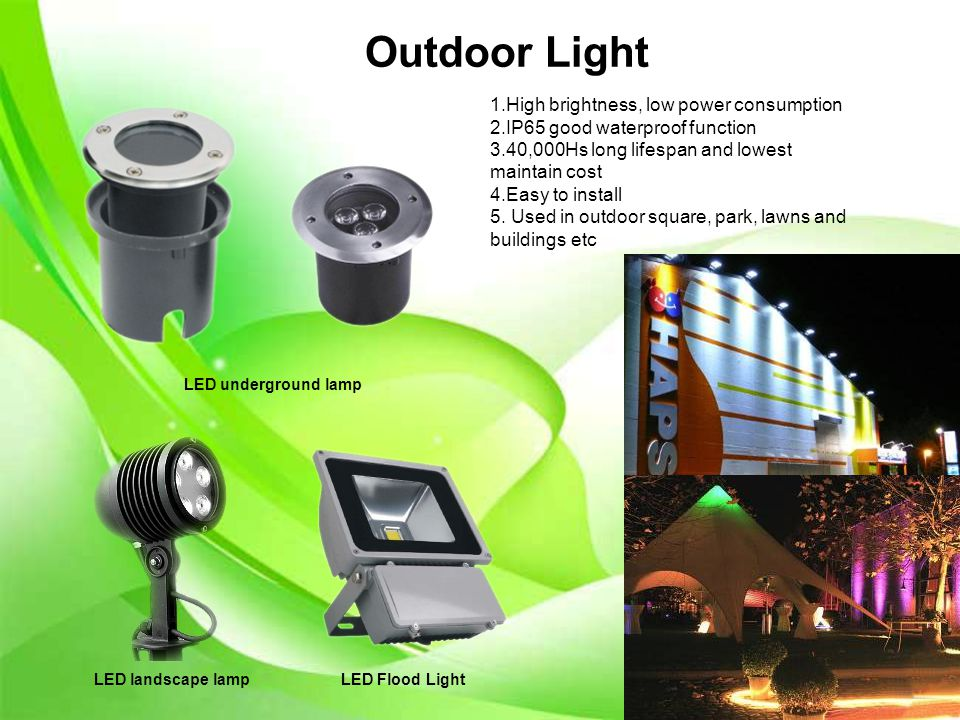 Outdoor Light LED underground lamp LED landscape lamp LED Flood Light 1.High brightness, low power consumption 2.IP65 good waterproof function 3.40,000Hs long lifespan and lowest maintain cost 4.Easy to install 5.