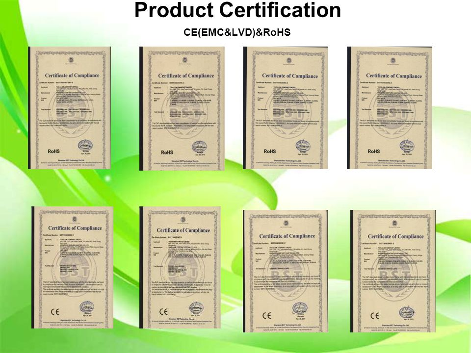 Product Certification CE(EMC&LVD)&RoHS