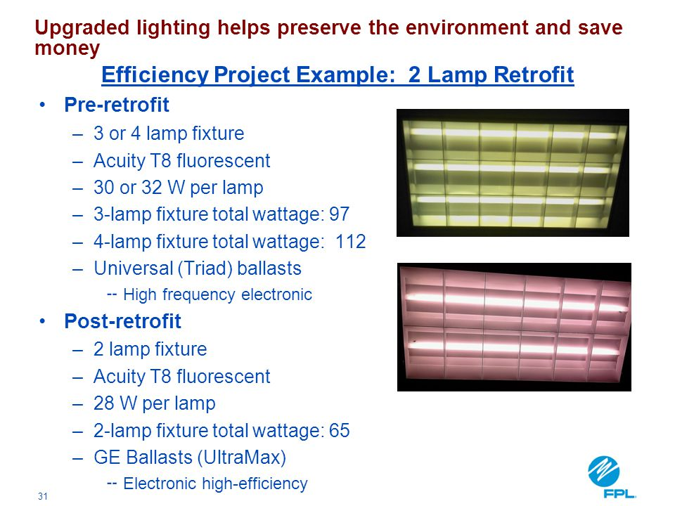 31 Pre-retrofit –3 or 4 lamp fixture –Acuity T8 fluorescent –30 or 32 W per lamp –3-lamp fixture total wattage: 97 –4-lamp fixture total wattage: 112