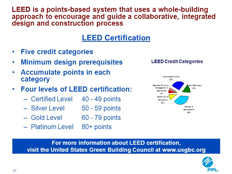 41 Five credit categories Minimum design prerequisites Accumulate points in each category Four levels of LEED certification: –Certified Level40 - 49 p