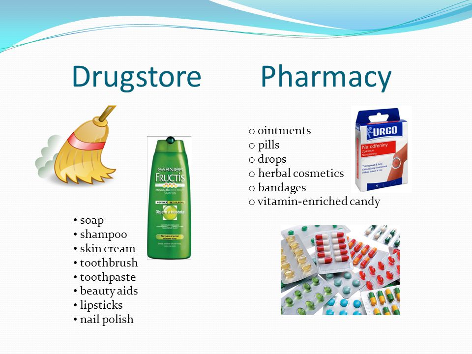 Drugstore Pharmacy soap shampoo skin cream toothbrush toothpaste beauty aids lipsticks nail polish o ointments o pills o drops o herbal cosmetics o bandages o vitamin-enriched candy