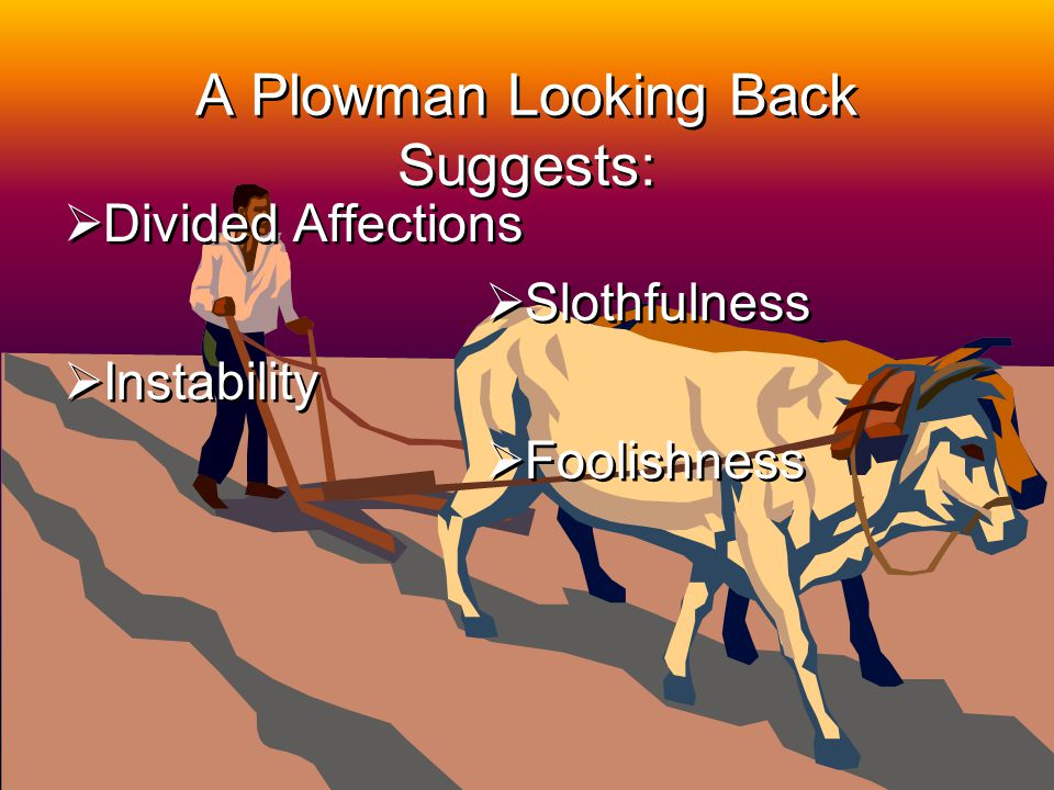 14 A Plowman Looking Back Suggests: Divided Affections Instability Divided Affections Instability Slothfulness Foolishness Slothfulness Foolishness