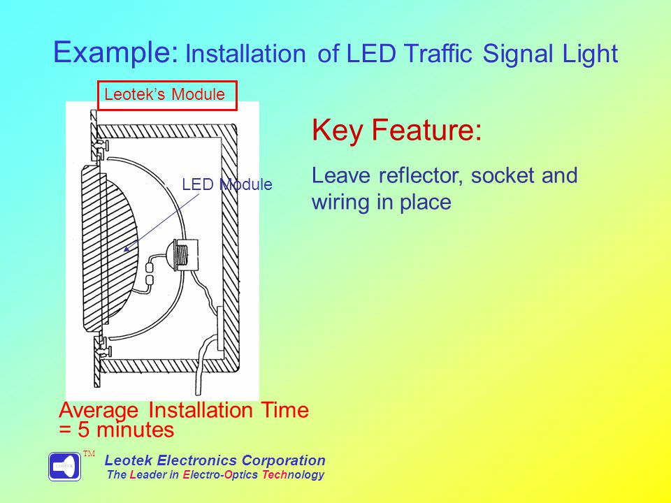 Example: Installation of LED Traffic Signal Light Leotek Electronics Corporation The Leader in Electro-Optics Technology TM Leoteks Module Average Installation Time = 5 minutes LED Module Key Feature: Leave reflector, socket and wiring in place