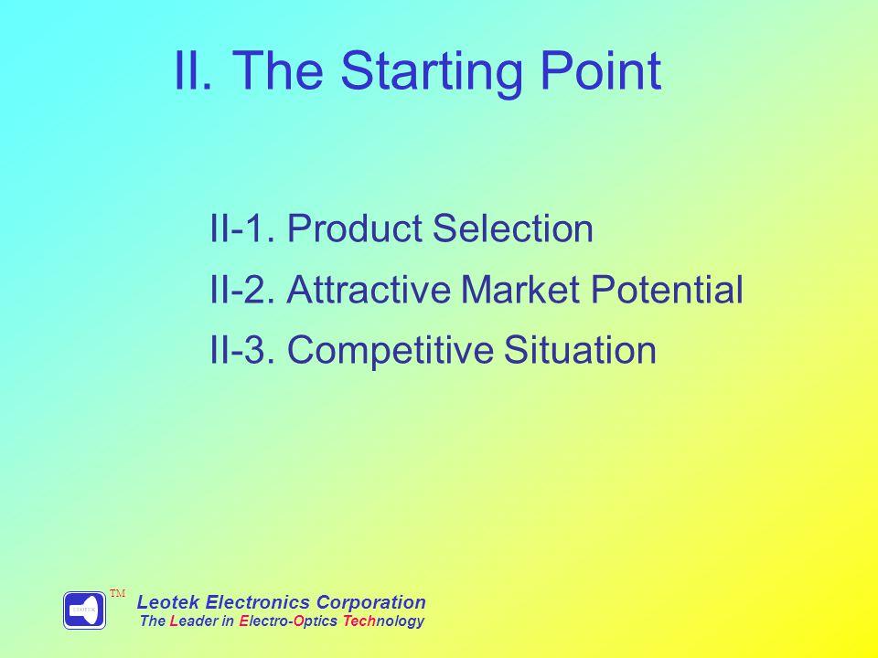 II. The Starting Point II-1. Product Selection II-2.