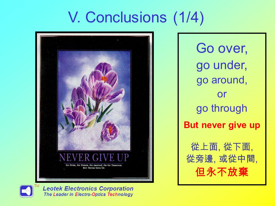 V. Conclusions (1/4) Leotek Electronics Corporation The Leader in Electro-Optics Technology TM Go over, go under, go around, or go through But never g