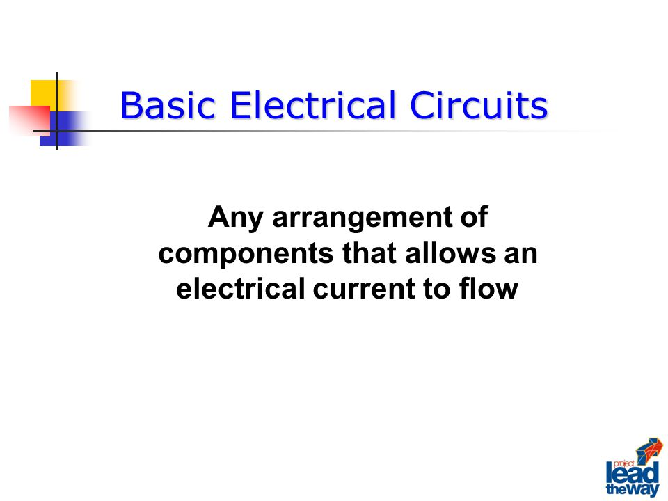 A Basic Circuit There is only one path for the electrons to flow Battery A Source Battery Lamp A LoadLamp Wire A ConductorWire SwitchA Control Switch