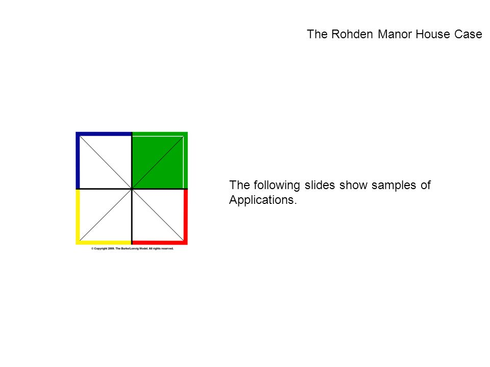 The following slides show samples of Applications. The Rohden Manor House Case