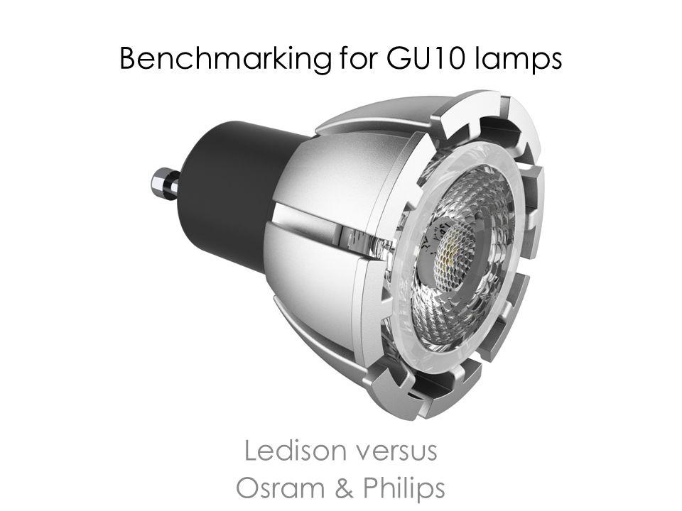 Benchmarking for GU10 lamps Ledison versus Osram & Philips