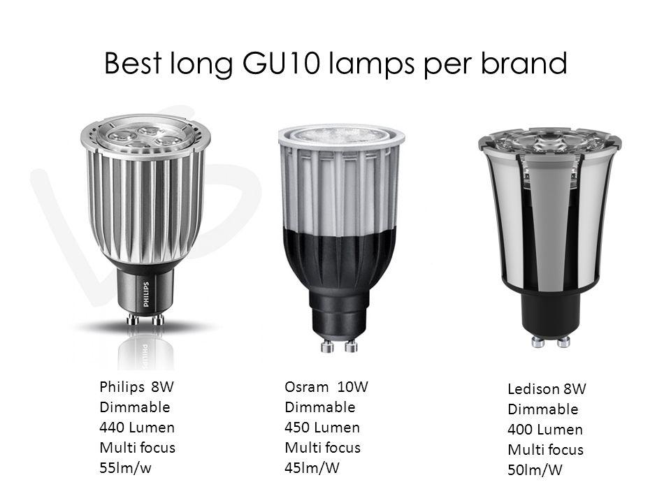 Best long GU10 lamps per brand Philips 8W Dimmable 440 Lumen Multi focus 55lm/w Osram 10W Dimmable 450 Lumen Multi focus 45lm/W Ledison 8W Dimmable 40