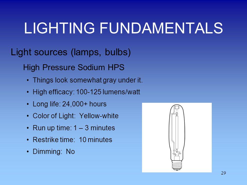 29 LIGHTING FUNDAMENTALS Light sources (lamps, bulbs) High Pressure Sodium HPS Things look somewhat gray under it. High efficacy: 100-125 lumens/watt
