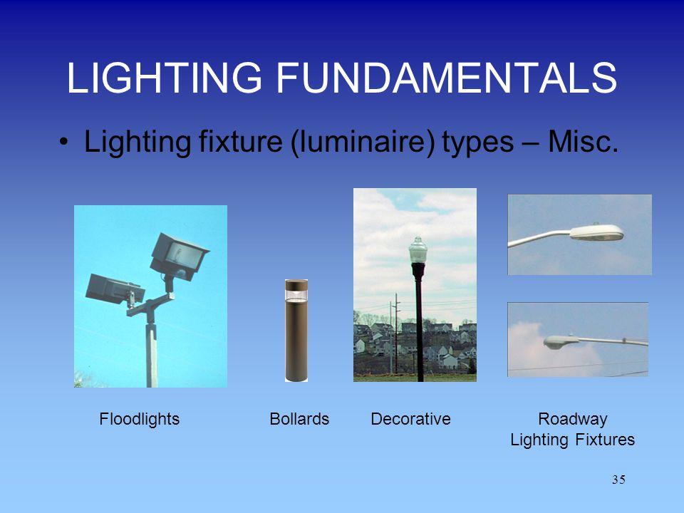 35 LIGHTING FUNDAMENTALS Lighting fixture (luminaire) types – Misc. BollardsRoadway Lighting Fixtures DecorativeFloodlights