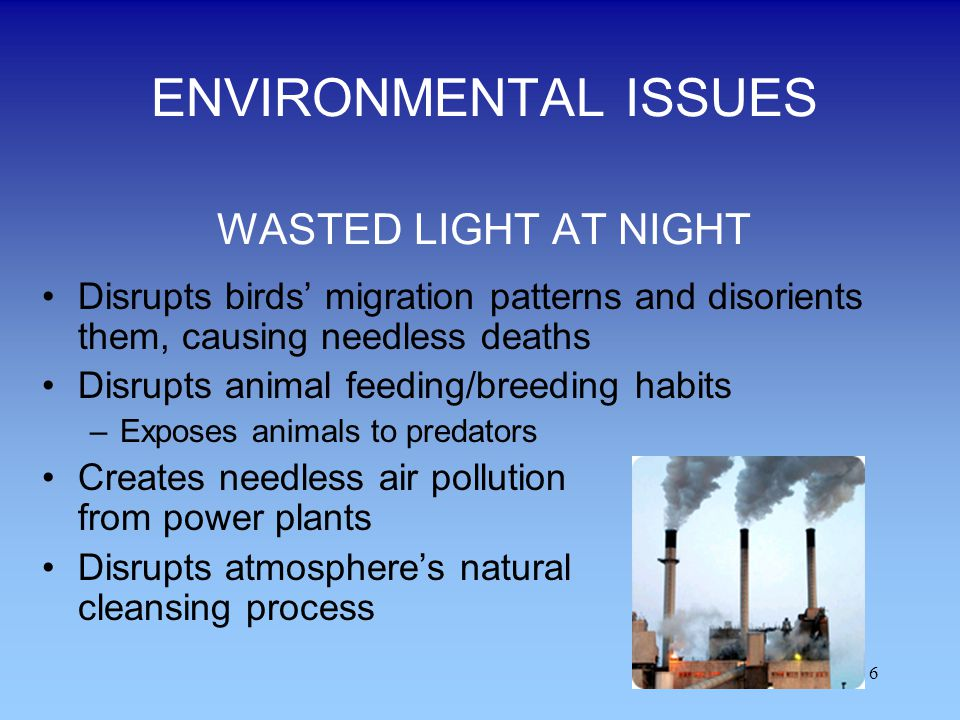 6 ENVIRONMENTAL ISSUES WASTED LIGHT AT NIGHT Disrupts birds migration patterns and disorients them, causing needless deaths Disrupts animal feeding/br