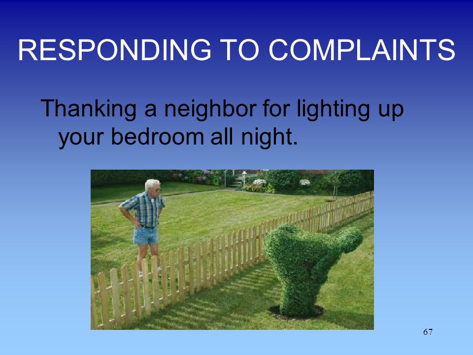 67 RESPONDING TO COMPLAINTS Thanking a neighbor for lighting up your bedroom all night.