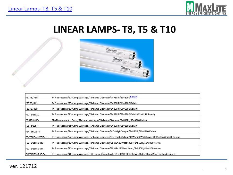 ENERGY EFFICIENT LIGHTING LINEAR LAMPS- T8, T5 & T10 ver. 121712 Linear Lamps- T8, T5 & T10.1.1 F17T8/730-F=Fluorescent/17=Lamp Wattage/T8=Lamp Diamet