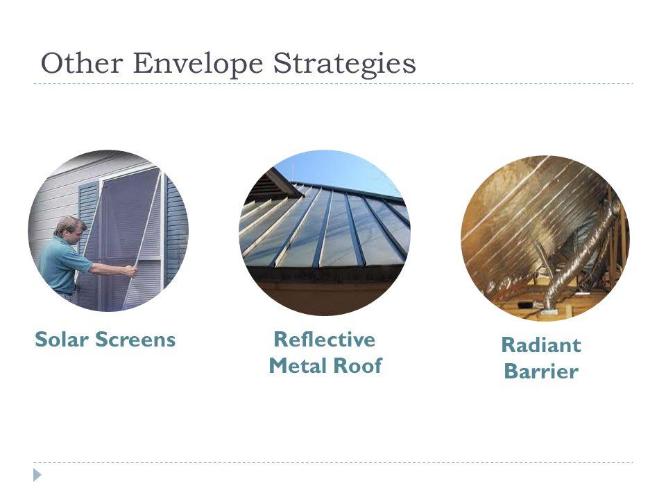 Other Envelope Strategies Solar ScreensReflective Metal Roof Radiant Barrier