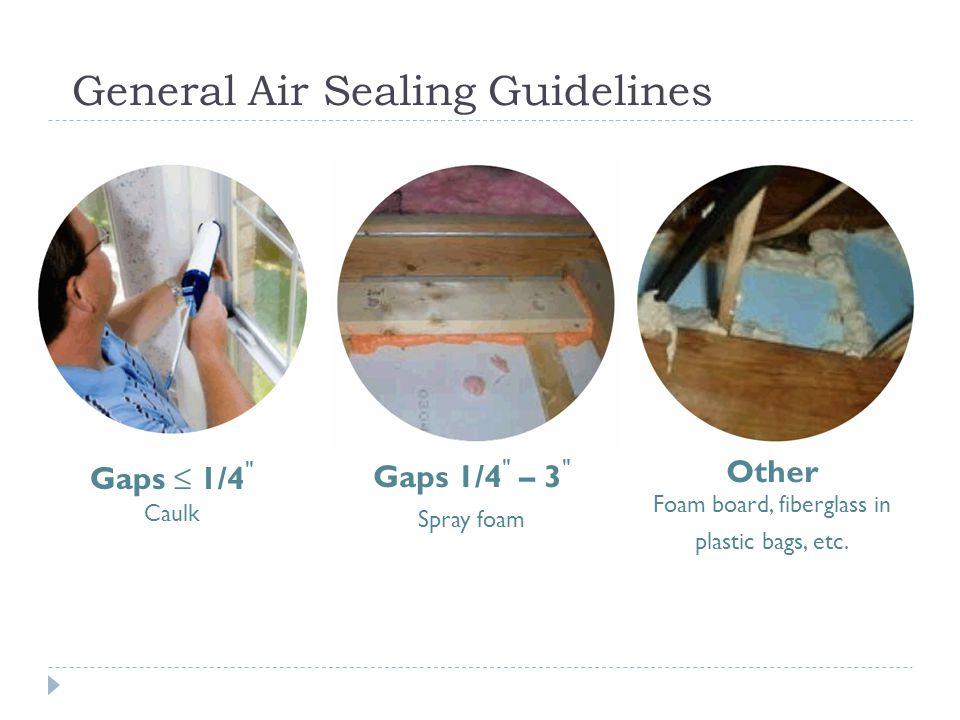 General Air Sealing Guidelines Gaps 1/4