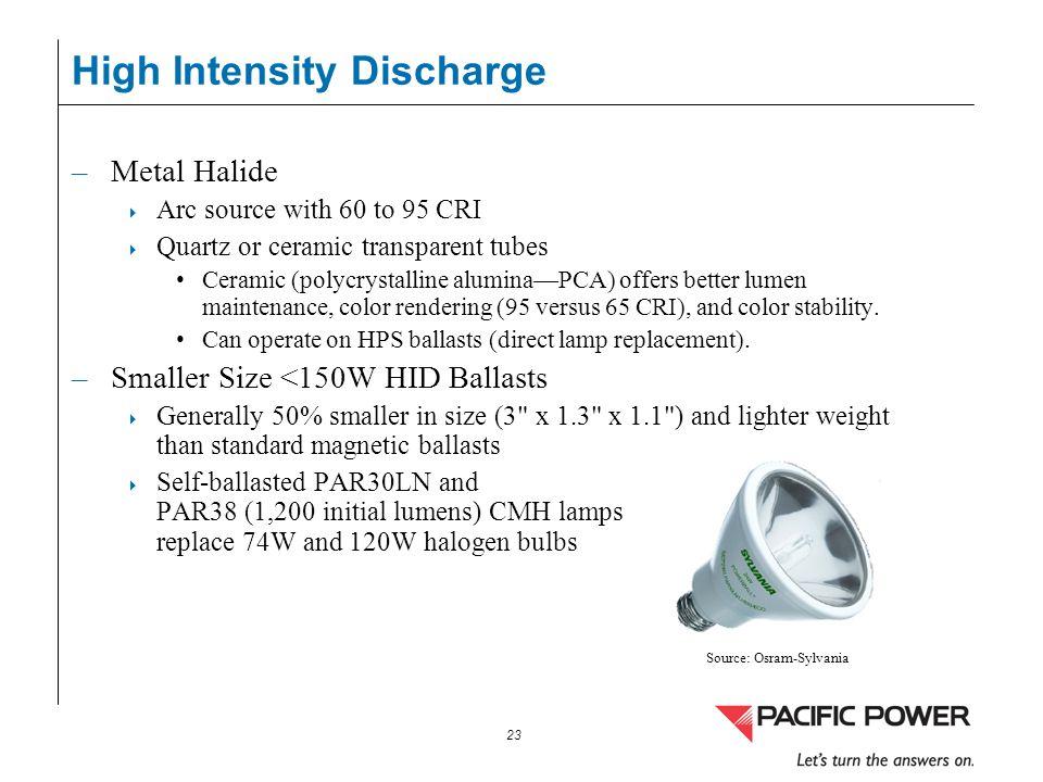 23 High Intensity Discharge –Metal Halide Arc source with 60 to 95 CRI Quartz or ceramic transparent tubes Ceramic (polycrystalline aluminaPCA) offers