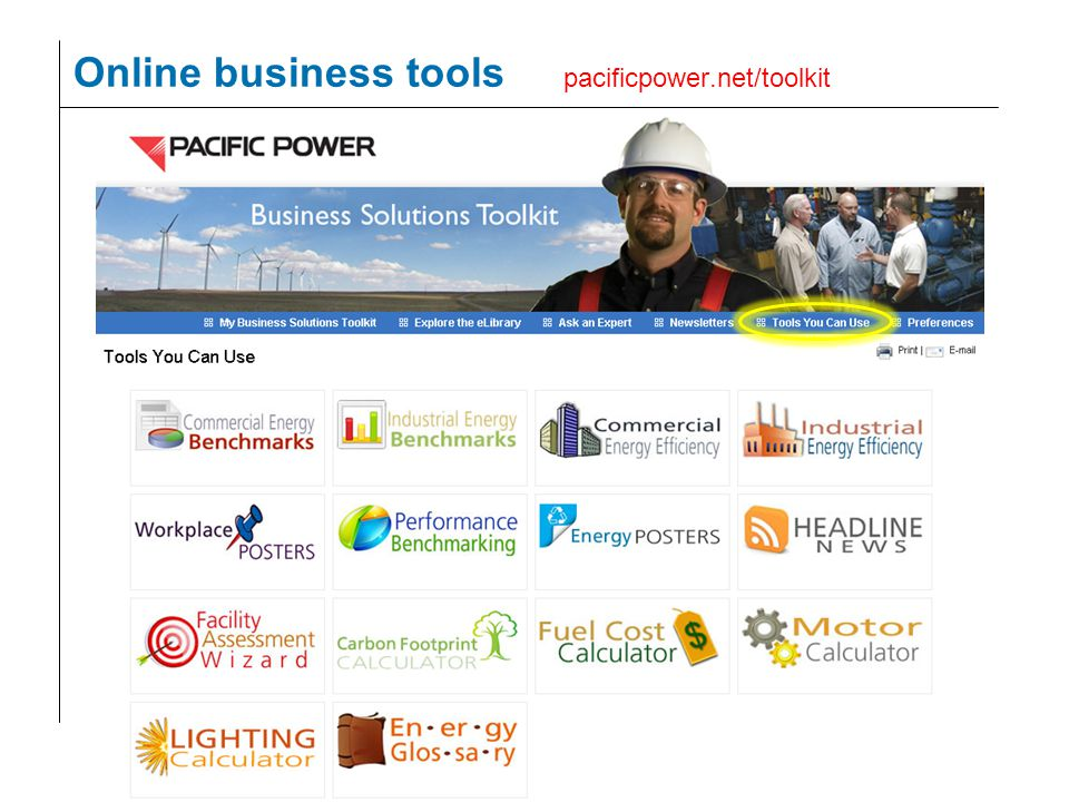 37 Online business tools pacificpower.net/toolkit