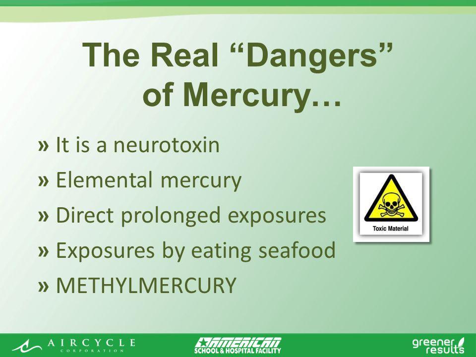 » It is a neurotoxin » Elemental mercury » Direct prolonged exposures » Exposures by eating seafood » METHYLMERCURY The Real Dangers of Mercury…