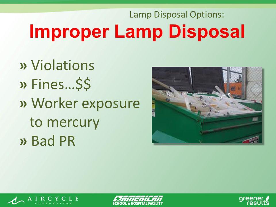 » Violations » Fines…$$ » Worker exposure to mercury » Bad PR Improper Lamp Disposal Lamp Disposal Options: