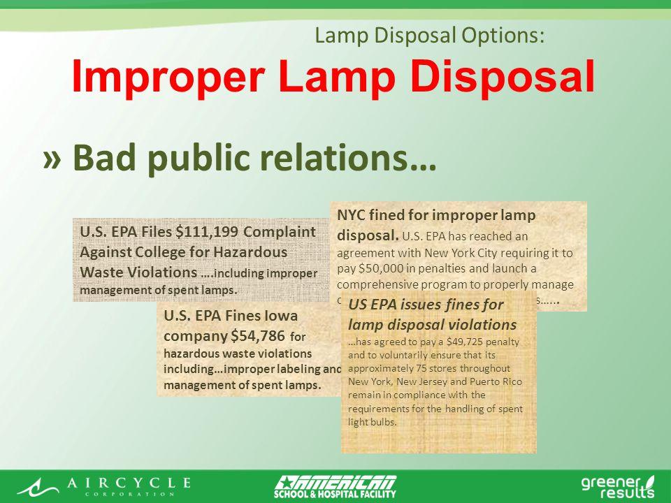 » Bad public relations… Lamp Disposal Options: U.S.