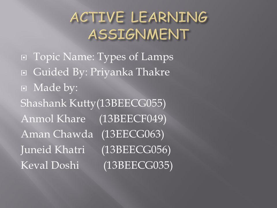 Topic Name: Types of Lamps Guided By: Priyanka Thakre Made by: Shashank Kutty(13BEECG055) Anmol Khare (13BEECF049) Aman Chawda (13EECG063) Juneid Khat