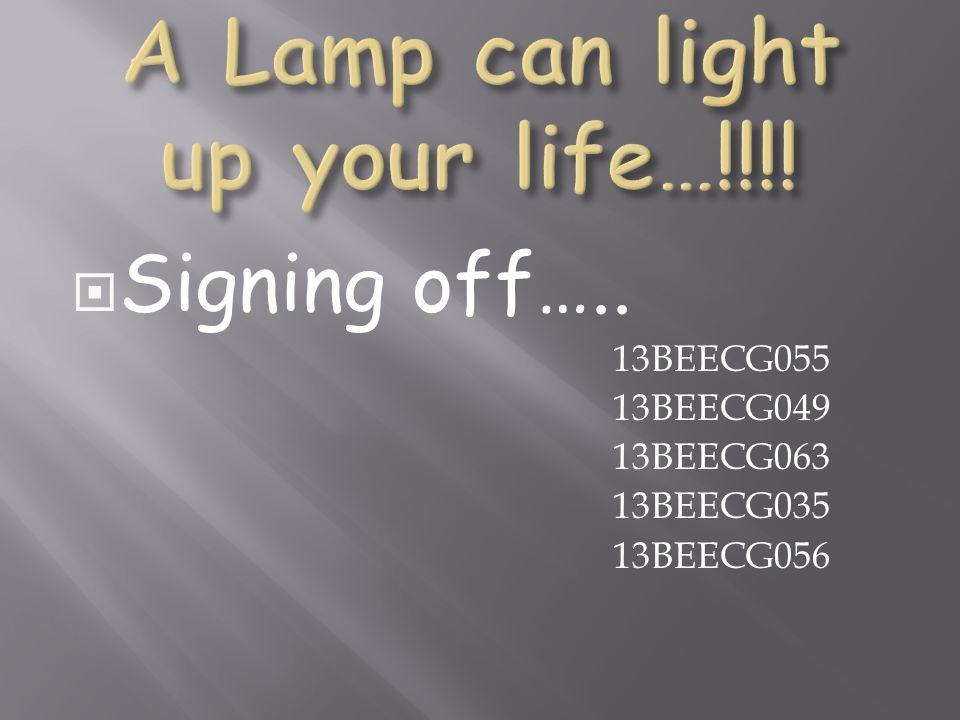 Signing off….. 13BEECG055 13BEECG049 13BEECG063 13BEECG035 13BEECG056