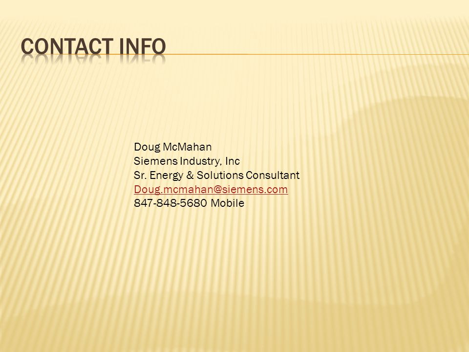 Doug McMahan Siemens Industry, Inc Sr.