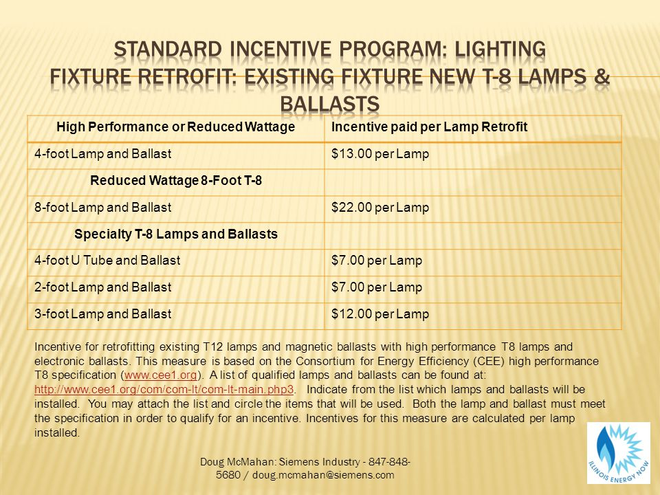 High Performance or Reduced WattageIncentive paid per Lamp Retrofit 4-foot Lamp and Ballast$13.00 per Lamp Reduced Wattage 8-Foot T-8 8-foot Lamp and Ballast$22.00 per Lamp Specialty T-8 Lamps and Ballasts 4-foot U Tube and Ballast$7.00 per Lamp 2-foot Lamp and Ballast$7.00 per Lamp 3-foot Lamp and Ballast$12.00 per Lamp Doug McMahan: Siemens Industry - 847-848- 5680 / doug.mcmahan@siemens.com Incentive for retrofitting existing T12 lamps and magnetic ballasts with high performance T8 lamps and electronic ballasts.