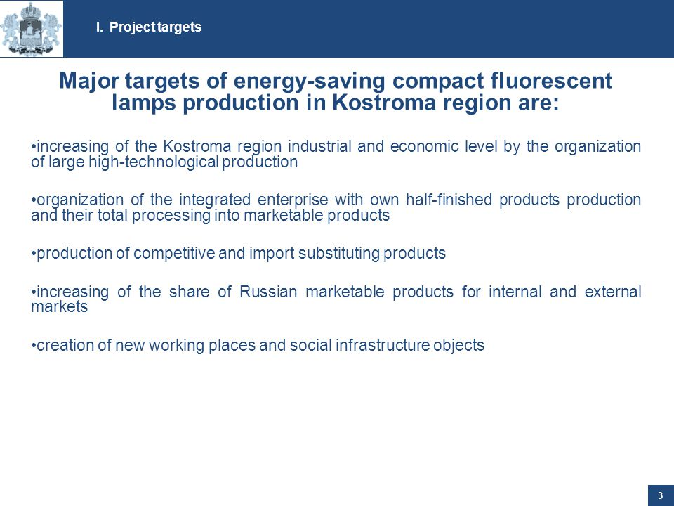 I.Project targets 3 Major targets of energy-saving compact fluorescent lamps production in Kostroma region are: increasing of the Kostroma region industrial and economic level by the organization of large high-technological production organization of the integrated enterprise with own half-finished products production and their total processing into marketable products production of competitive and import substituting products increasing of the share of Russian marketable products for internal and external markets creation of new working places and social infrastructure objects