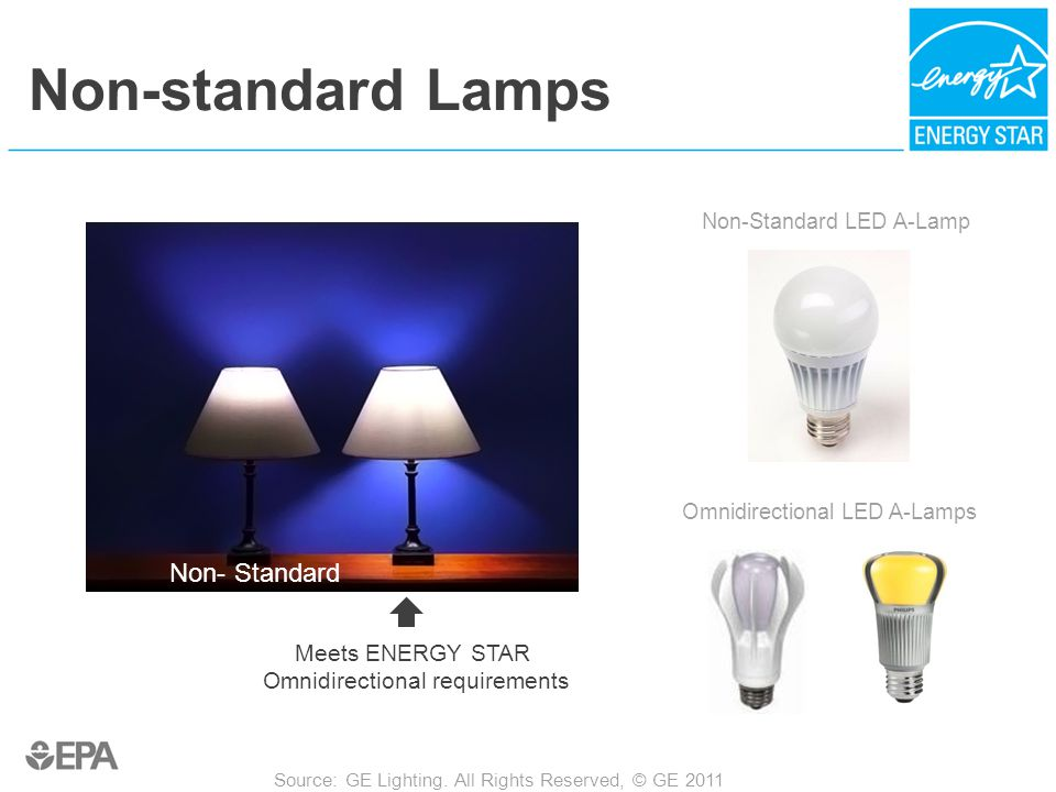 Non-standard Lamps Meets ENERGY STAR Omnidirectional requirements Source: GE Lighting.