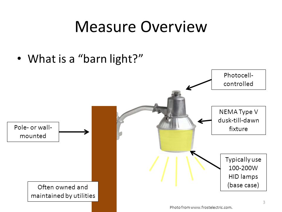 Measure Overview What is a barn light. Photo from www.frostelectric.com.