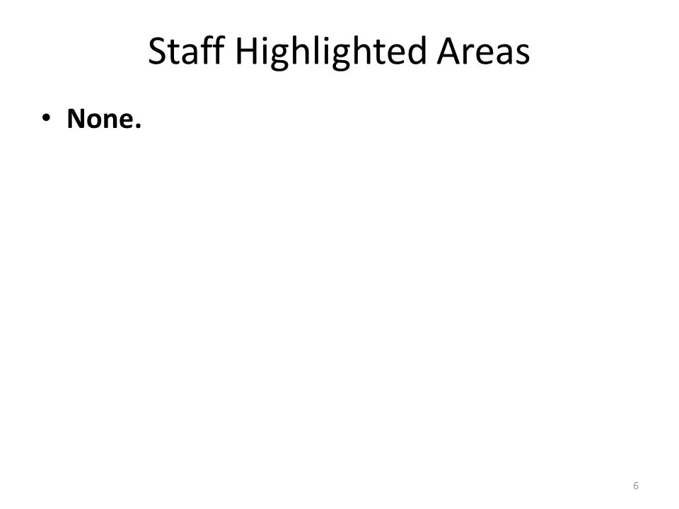 Staff Highlighted Areas None. 6