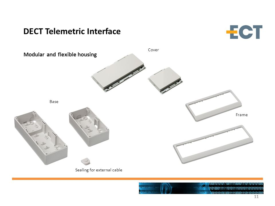11 Base Cover Frame Sealing for external cable Modular and flexible housing DECT Telemetric Interface