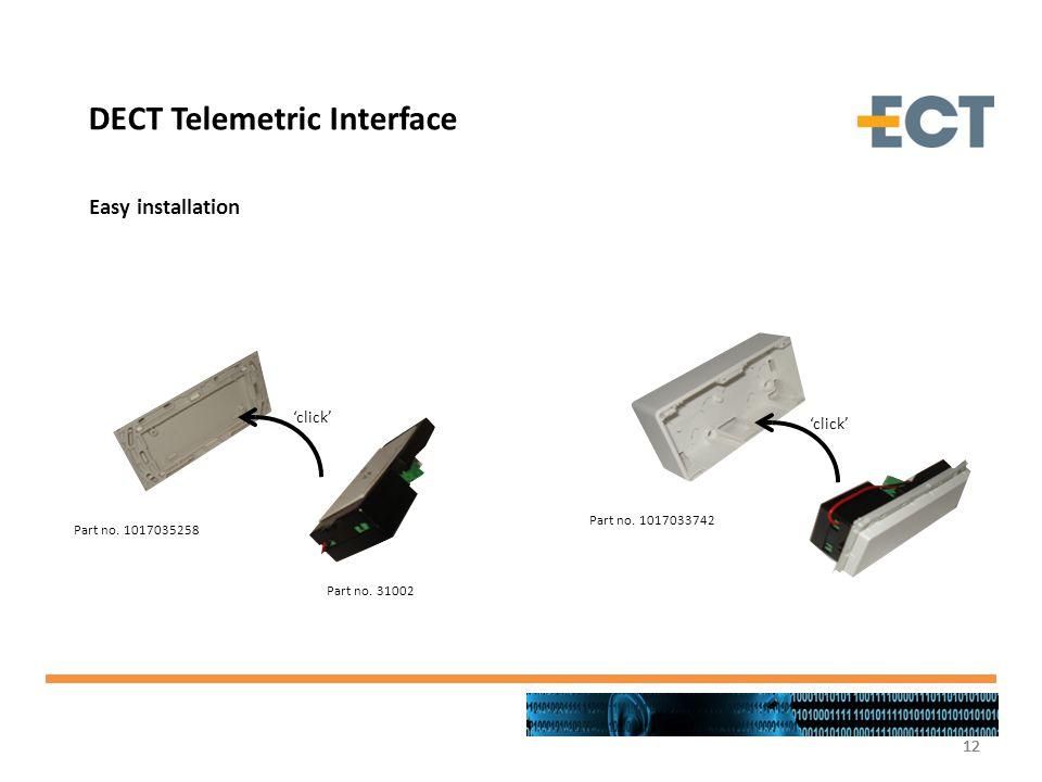 12 click Part no. 1017035258 Part no. 31002 Part no. 1017033742 click DECT Telemetric Interface Easy installation