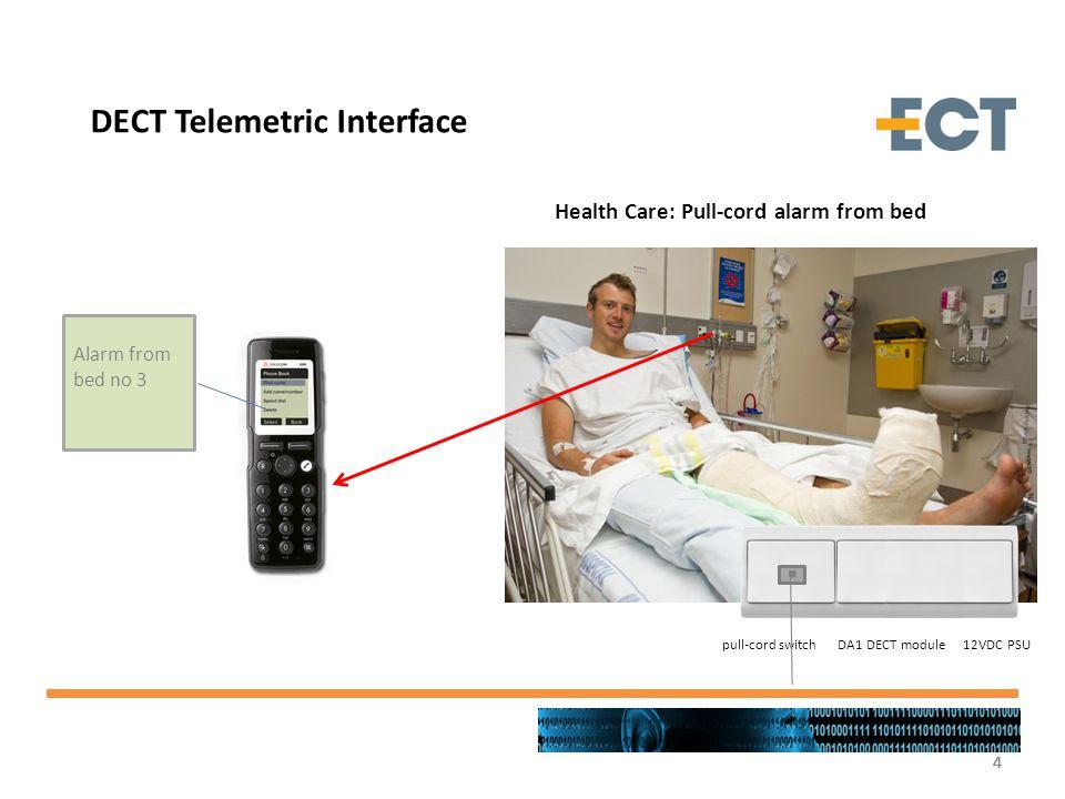 4444 DECT Telemetric Interface Health Care: Pull-cord alarm from bed Alarm from bed no 3 pull-cord switch DA1 DECT module 12VDC PSU