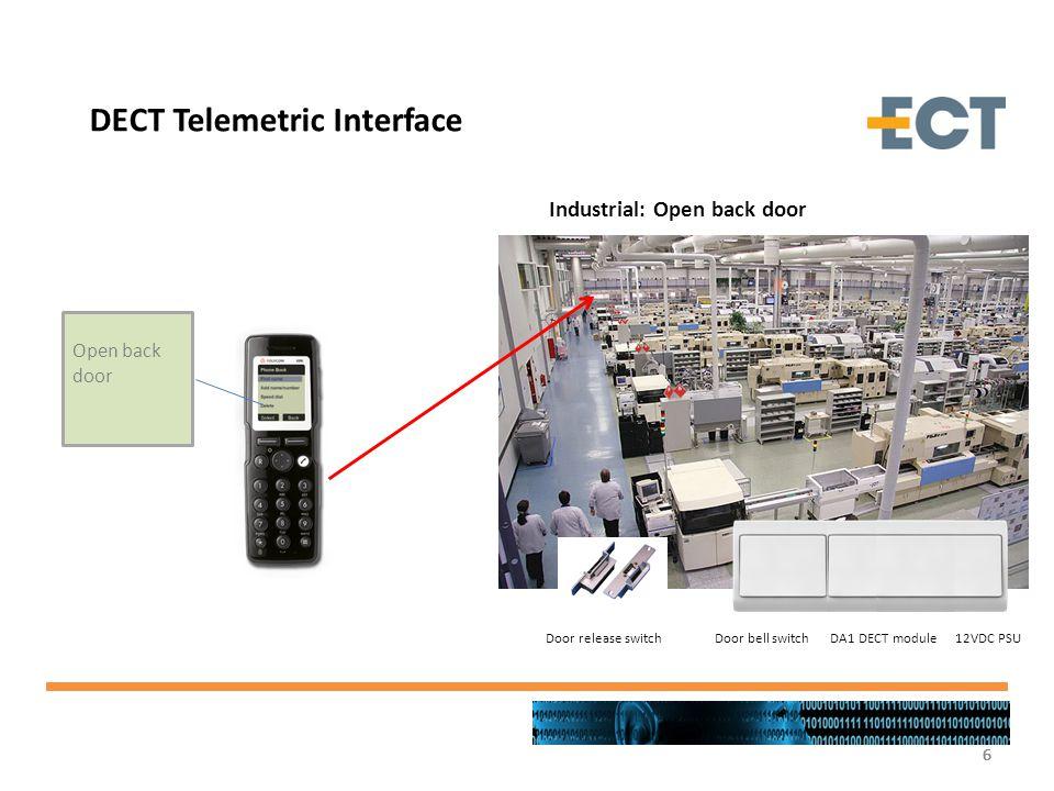 6666 DECT Telemetric Interface Industrial: Open back door Open back door Door bell switch DA1 DECT module 12VDC PSU Door release switch