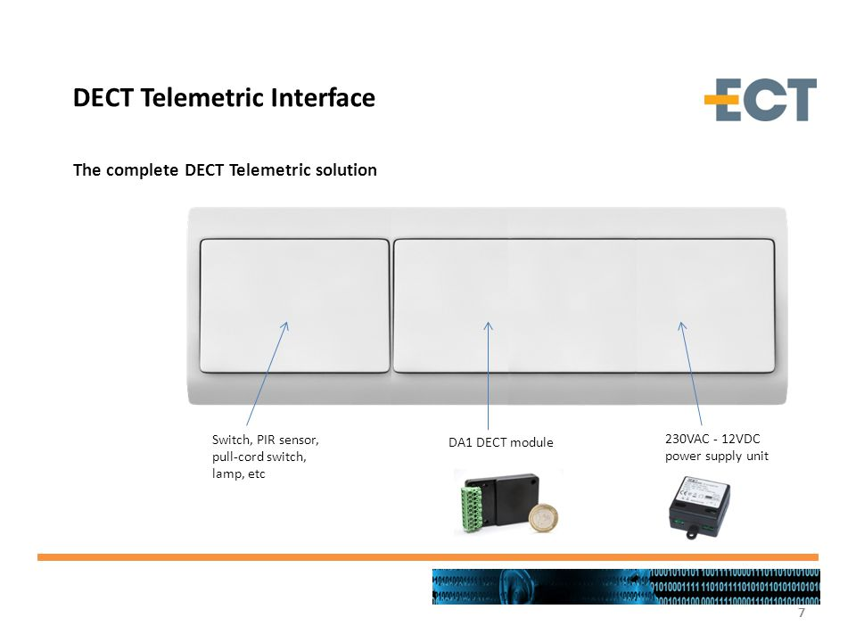 7777 The complete DECT Telemetric solution DECT Telemetric Interface Switch, PIR sensor, pull-cord switch, lamp, etc DA1 DECT module 230VAC - 12VDC po
