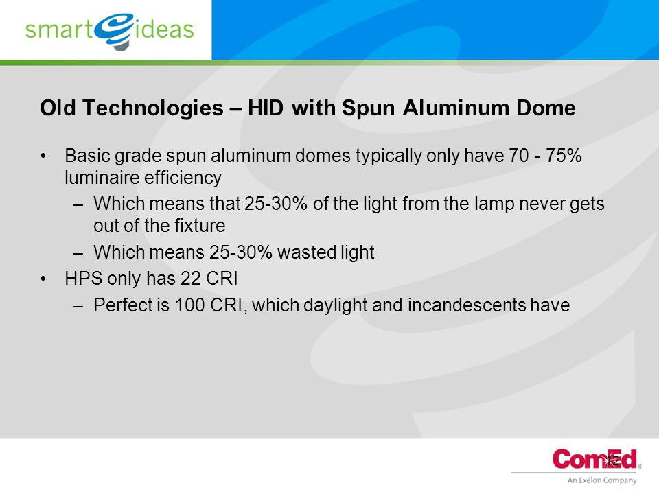 12 Old Technologies – HID with Spun Aluminum Dome Basic grade spun aluminum domes typically only have 70 - 75% luminaire efficiency –Which means that 25-30% of the light from the lamp never gets out of the fixture –Which means 25-30% wasted light HPS only has 22 CRI –Perfect is 100 CRI, which daylight and incandescents have