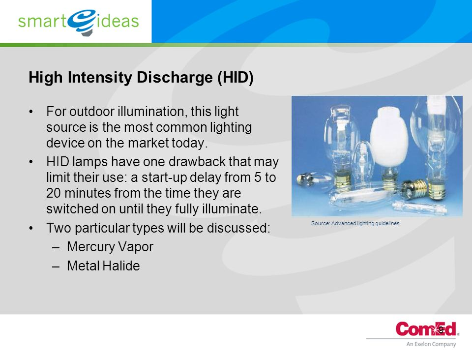 9 High Intensity Discharge (HID) For outdoor illumination, this light source is the most common lighting device on the market today.