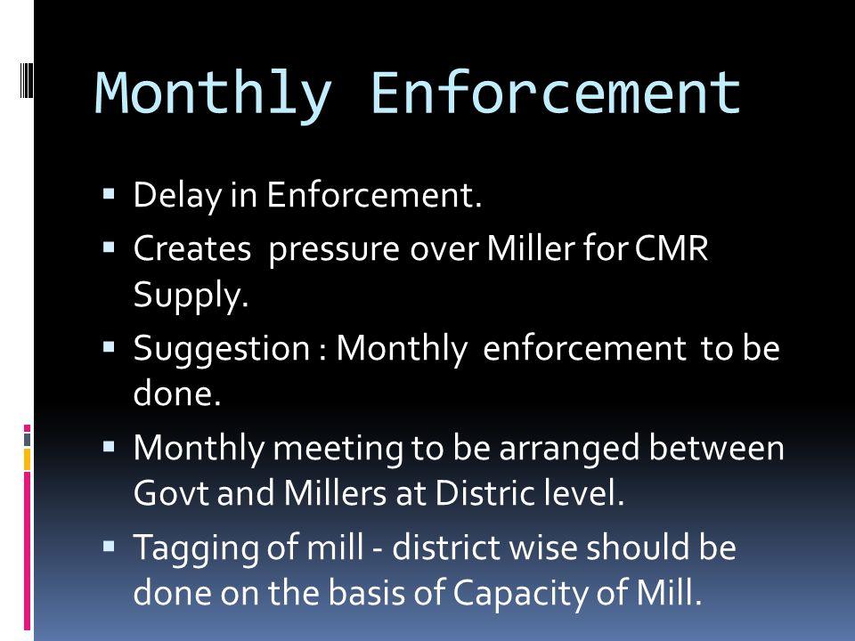 Monthly Enforcement Delay in Enforcement. Creates pressure over Miller for CMR Supply. Suggestion : Monthly enforcement to be done. Monthly meeting to